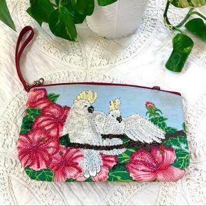 Vintage Tropical Fun Sequined Bird Bag Zip Clutch